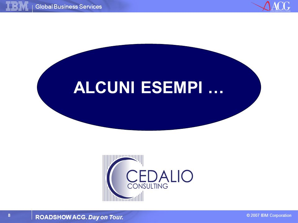 Global Business Services © 2007 IBM Corporation 8 ROADSHOW ACG. Day on Tour. ALCUNI ESEMPI …