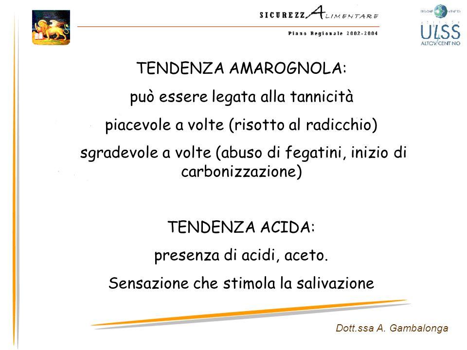 Dott.ssa A. Gambalonga TENDENZA AMAROGNOLA: può essere legata alla tannicità piacevole a volte (risotto al radicchio) sgradevole a volte (abuso di feg
