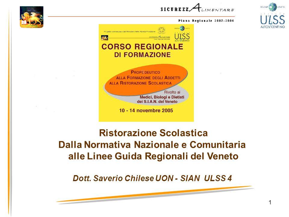 1 Ristorazione Scolastica Dalla Normativa Nazionale e Comunitaria alle Linee Guida Regionali del Veneto Dott. Saverio Chilese UON - SIAN ULSS 4