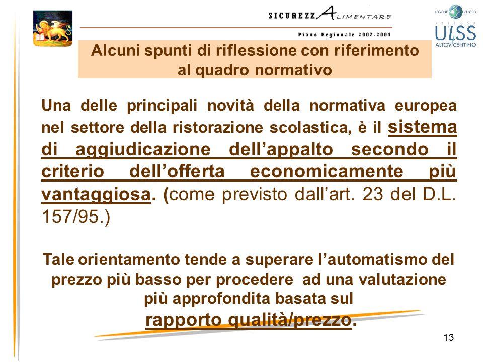 13 Una delle principali novità della normativa europea nel settore della ristorazione scolastica, è il sistema di aggiudicazione dellappalto secondo i