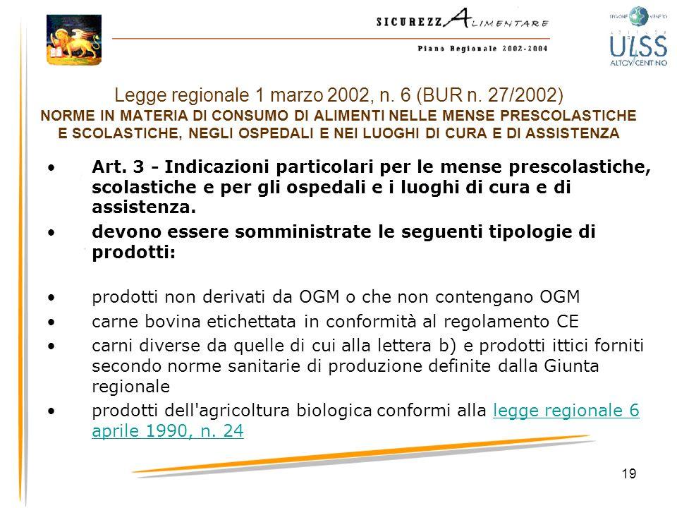 19 Legge regionale 1 marzo 2002, n. 6 (BUR n. 27/2002) NORME IN MATERIA DI CONSUMO DI ALIMENTI NELLE MENSE PRESCOLASTICHE E SCOLASTICHE, NEGLI OSPEDAL