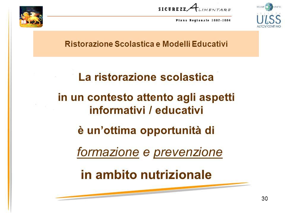 30 La ristorazione scolastica in un contesto attento agli aspetti informativi / educativi è unottima opportunità di formazione e prevenzione in ambito