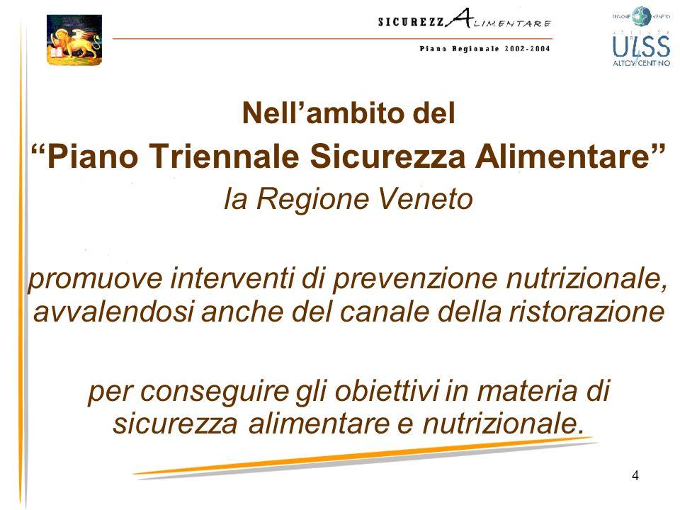 4 Nellambito del Piano Triennale Sicurezza Alimentare la Regione Veneto promuove interventi di prevenzione nutrizionale, avvalendosi anche del canale
