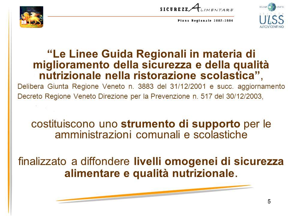 5 Le Linee Guida Regionali in materia di miglioramento della sicurezza e della qualità nutrizionale nella ristorazione scolastica, Delibera Giunta Reg