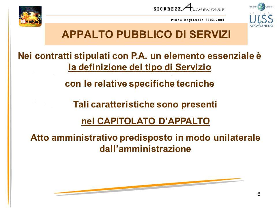6 APPALTO PUBBLICO DI SERVIZI Nei contratti stipulati con P.A. un elemento essenziale è la definizione del tipo di Servizio con le relative specifiche
