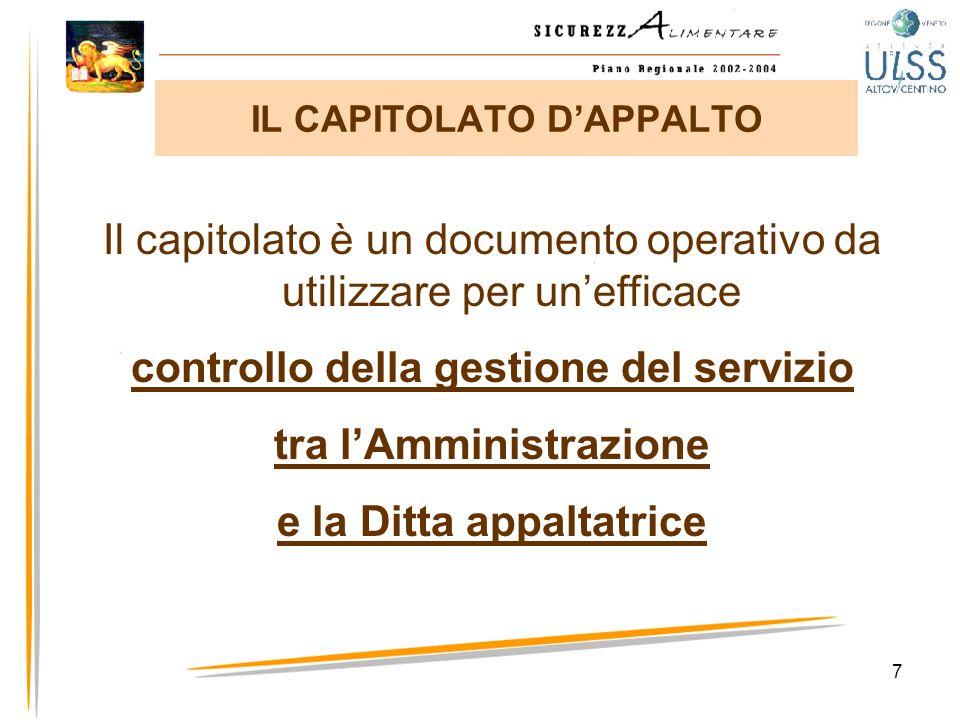 7 Il capitolato è un documento operativo da utilizzare per unefficace controllo della gestione del servizio tra lAmministrazione e la Ditta appaltatri