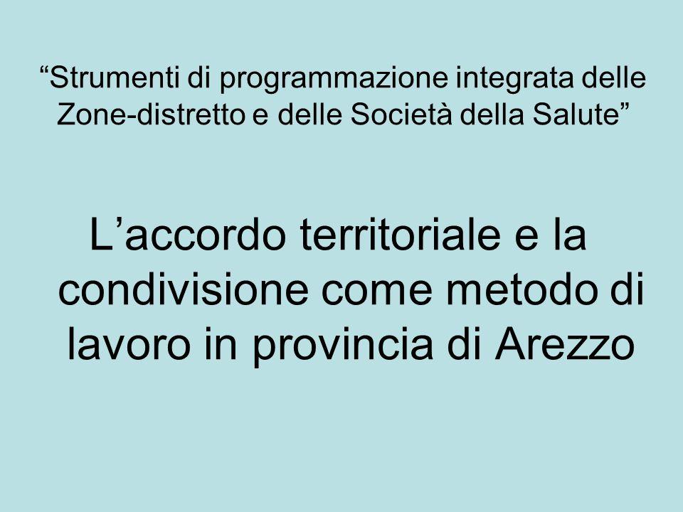 Strumenti di programmazione integrata delle Zone-distretto e delle Società della Salute Laccordo territoriale e la condivisione come metodo di lavoro in provincia di Arezzo