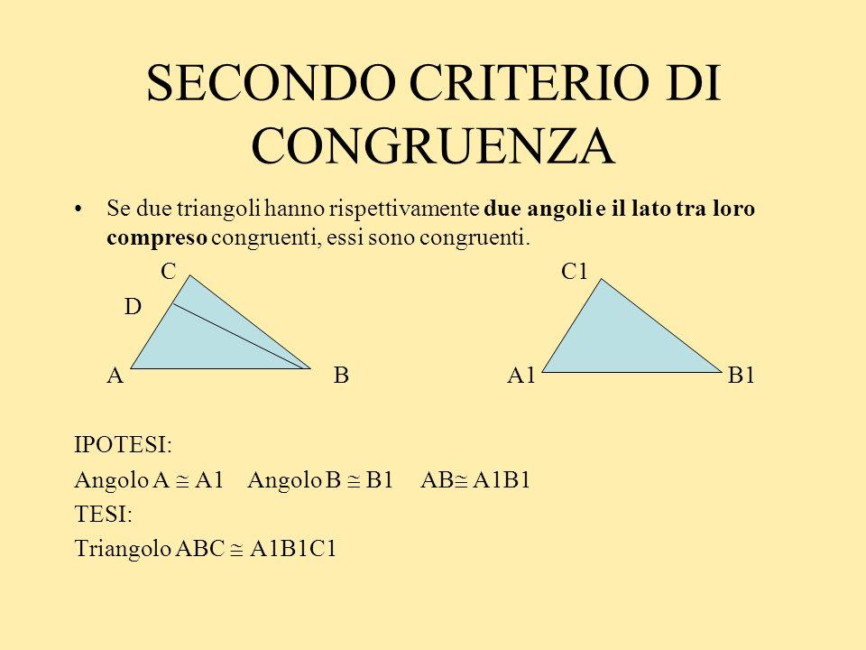 SECONDO CRITERIO DI CONGRUENZA Se due triangoli hanno rispettivamente due angoli e il lato tra loro compreso congruenti, essi sono congruenti. C C1 D