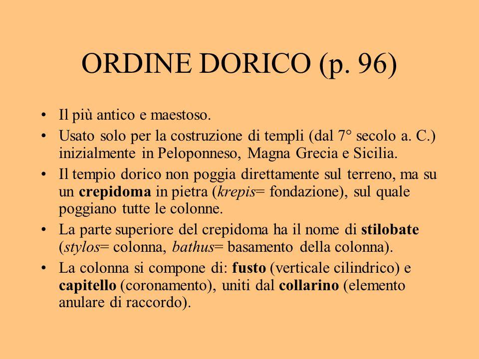 ORDINE DORICO (p. 96) Il più antico e maestoso. Usato solo per la costruzione di templi (dal 7° secolo a. C.) inizialmente in Peloponneso, Magna Greci
