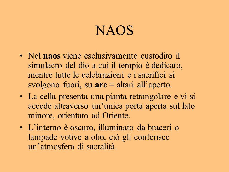 NAOS Nel naos viene esclusivamente custodito il simulacro del dio a cui il tempio è dedicato, mentre tutte le celebrazioni e i sacrifici si svolgono f