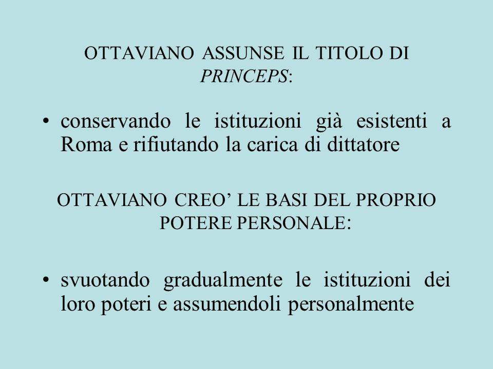 OTTAVIANO ASSUNSE IL TITOLO DI PRINCEPS: conservando le istituzioni già esistenti a Roma e rifiutando la carica di dittatore OTTAVIANO CREO LE BASI DE