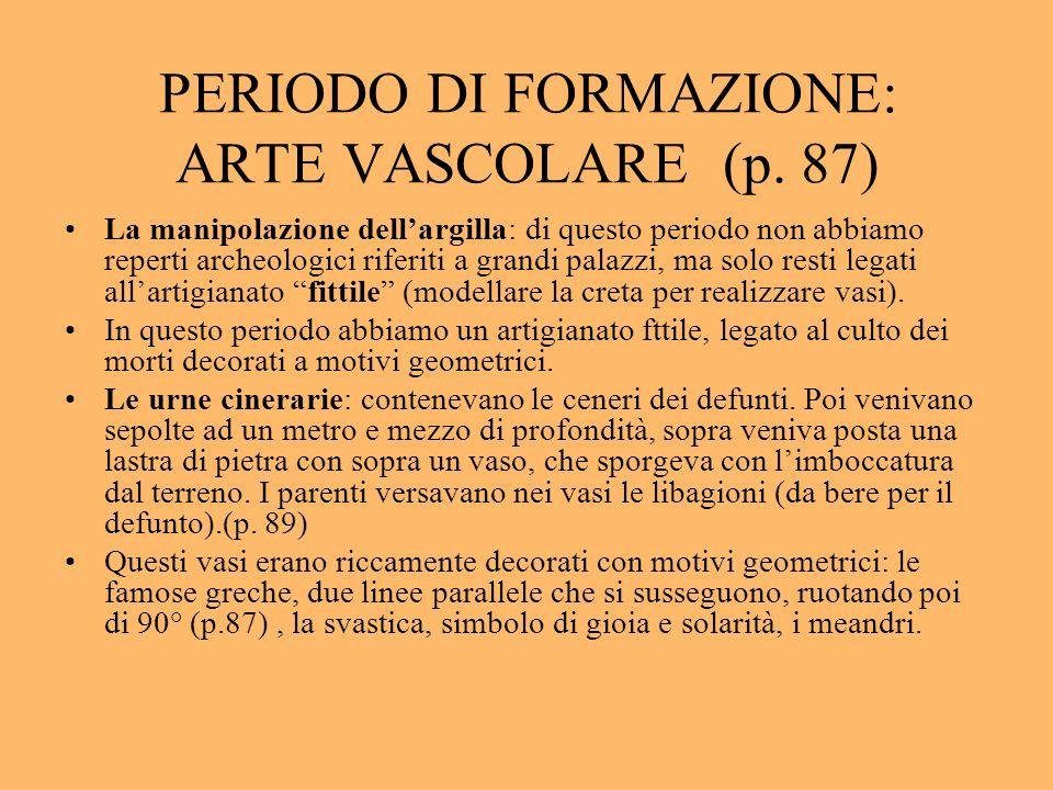 PERIODO DI FORMAZIONE: ARTE VASCOLARE (p. 87) La manipolazione dellargilla: di questo periodo non abbiamo reperti archeologici riferiti a grandi palaz