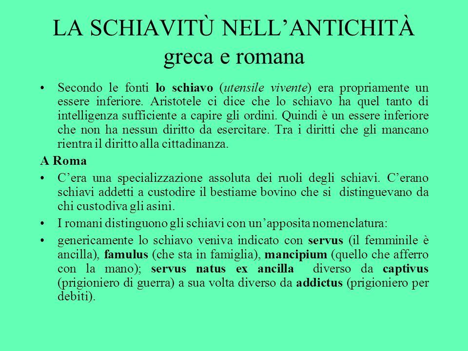 LA SCHIAVITÙ NELLANTICHITÀ greca e romana Secondo le fonti lo schiavo (utensile vivente) era propriamente un essere inferiore.