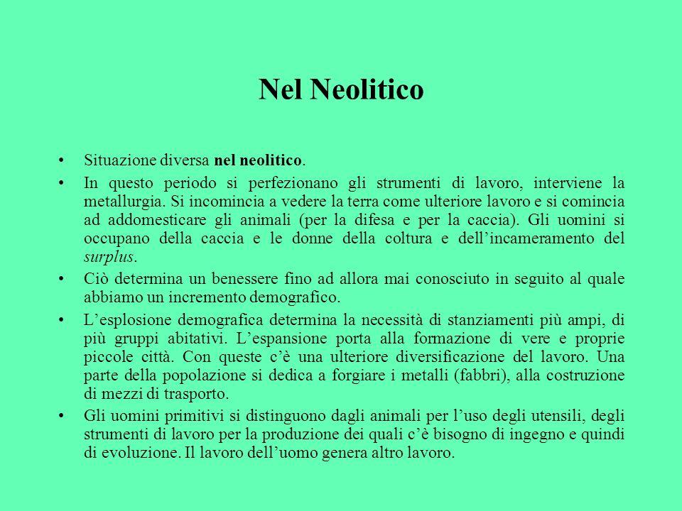 Nel Neolitico Situazione diversa nel neolitico.