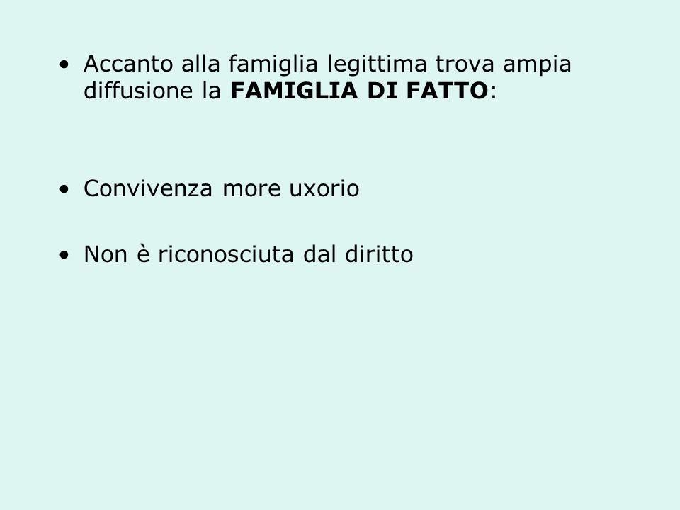 Accanto alla famiglia legittima trova ampia diffusione la FAMIGLIA DI FATTO: Convivenza more uxorio Non è riconosciuta dal diritto