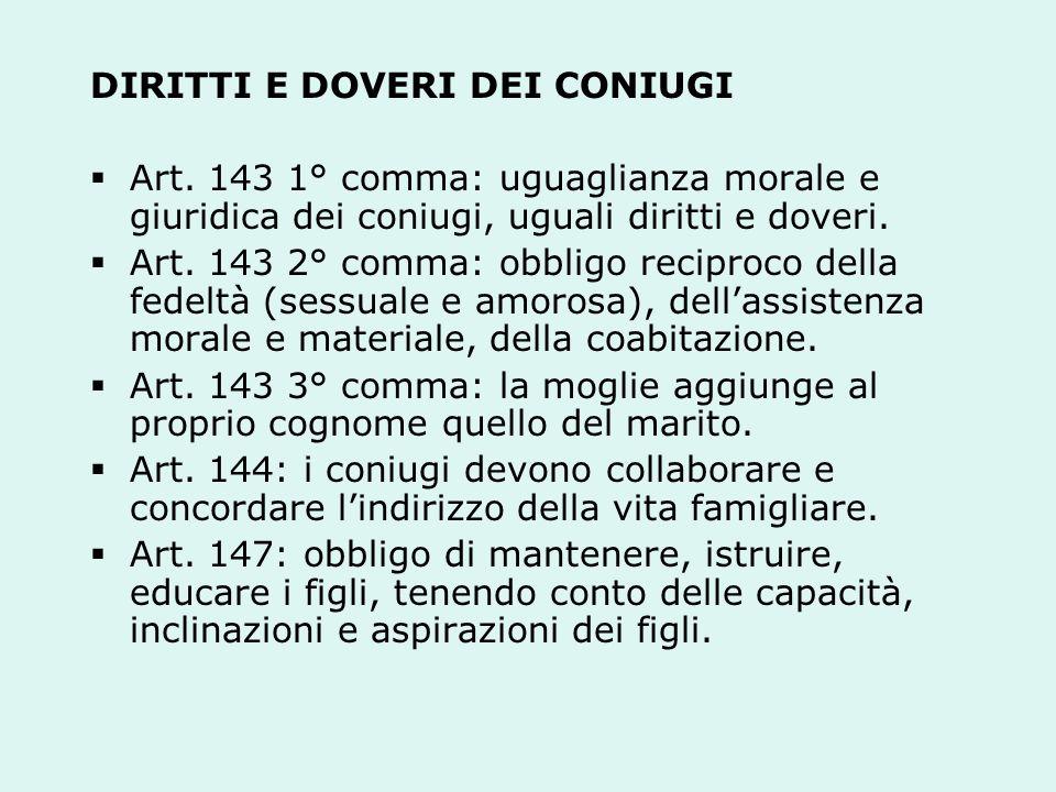 DIRITTI E DOVERI DEI CONIUGI Art.