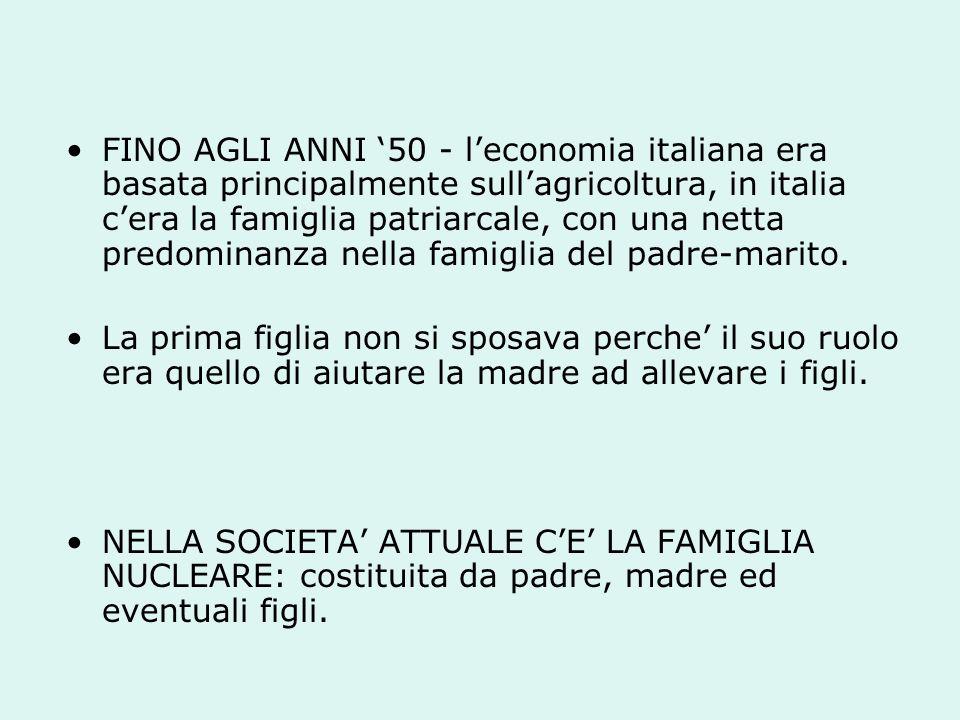 FINO AGLI ANNI 50 - leconomia italiana era basata principalmente sullagricoltura, in italia cera la famiglia patriarcale, con una netta predominanza nella famiglia del padre-marito.