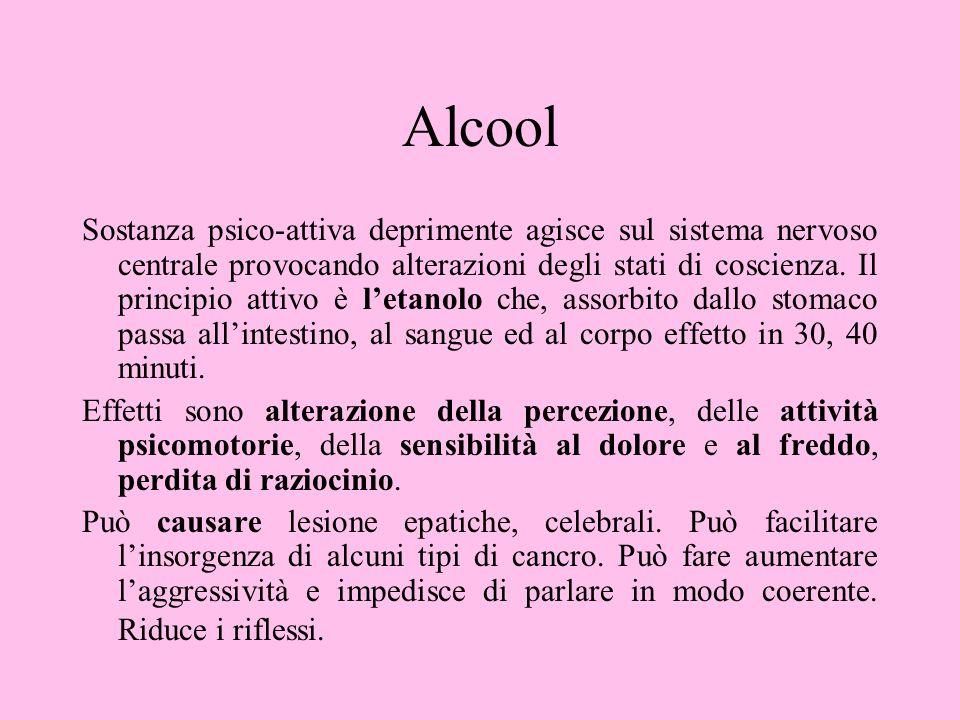 Alcool Sostanza psico-attiva deprimente agisce sul sistema nervoso centrale provocando alterazioni degli stati di coscienza. Il principio attivo è let