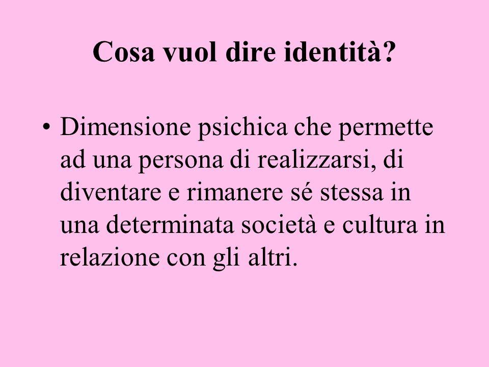Cosa vuol dire identità? Dimensione psichica che permette ad una persona di realizzarsi, di diventare e rimanere sé stessa in una determinata società