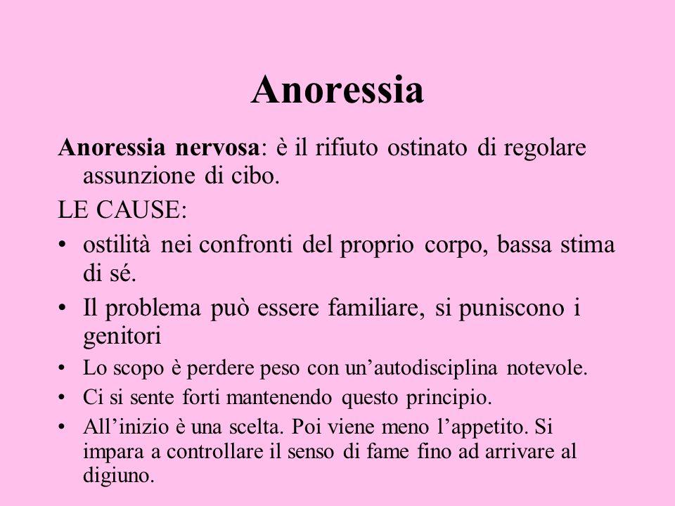 Anoressia Anoressia nervosa: è il rifiuto ostinato di regolare assunzione di cibo. LE CAUSE: ostilità nei confronti del proprio corpo, bassa stima di