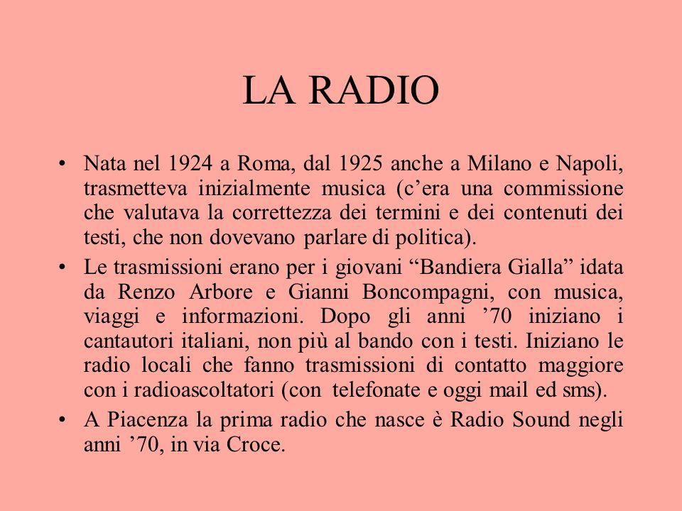 LA RADIO Nata nel 1924 a Roma, dal 1925 anche a Milano e Napoli, trasmetteva inizialmente musica (cera una commissione che valutava la correttezza dei