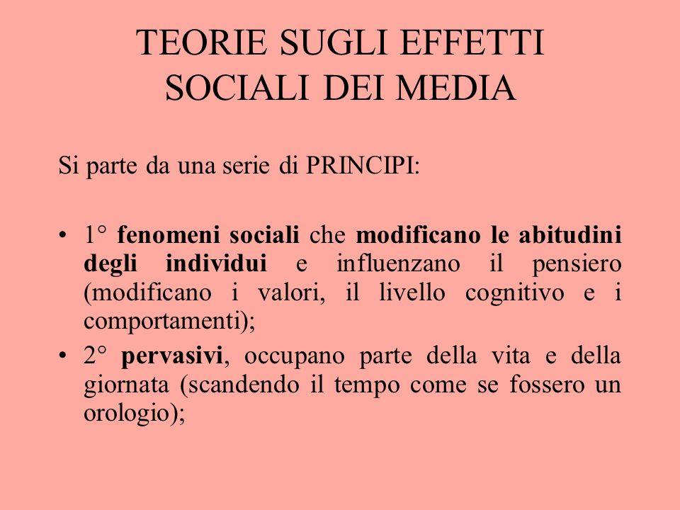 TEORIE SUGLI EFFETTI SOCIALI DEI MEDIA Si parte da una serie di PRINCIPI: 1° fenomeni sociali che modificano le abitudini degli individui e influenzan