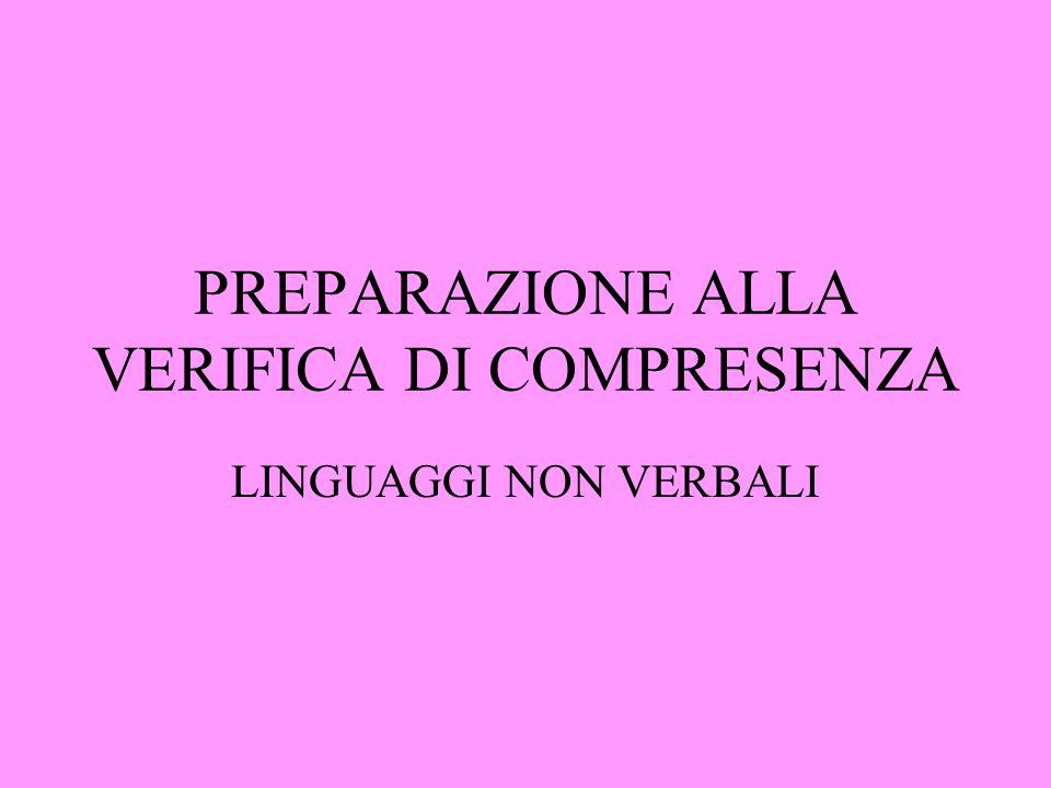 PREPARAZIONE ALLA VERIFICA DI COMPRESENZA LINGUAGGI NON VERBALI