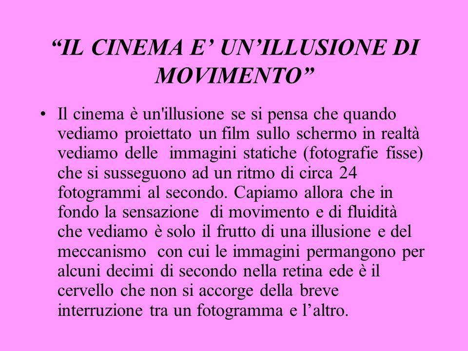 IL CINEMA E UNILLUSIONE DI MOVIMENTO Il cinema è un'illusione se si pensa che quando vediamo proiettato un film sullo schermo in realtà vediamo delle