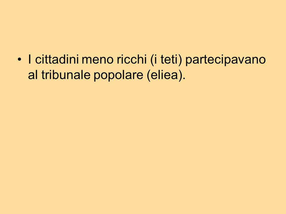 I cittadini meno ricchi (i teti) partecipavano al tribunale popolare (eliea).