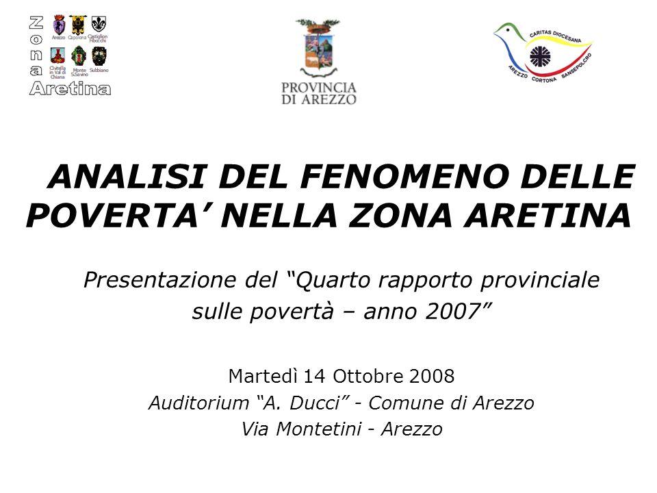 ANALISI DEL FENOMENO DELLE POVERTA NELLA ZONA ARETINA Presentazione del Quarto rapporto provinciale sulle povertà – anno 2007 Martedì 14 Ottobre 2008