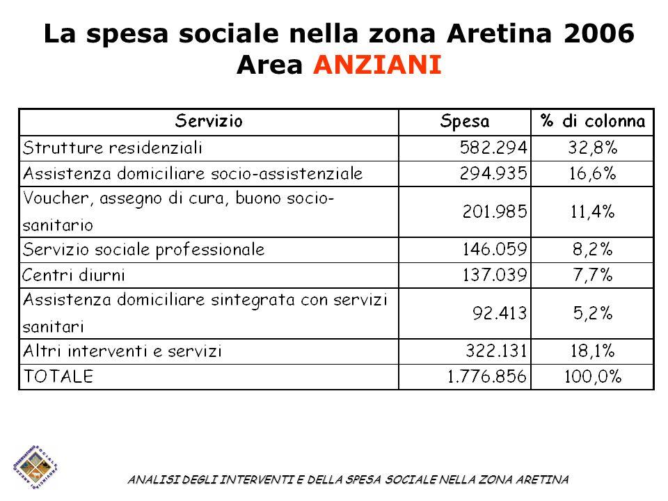 La spesa sociale nella zona Aretina 2006 Area ANZIANI ANALISI DEGLI INTERVENTI E DELLA SPESA SOCIALE NELLA ZONA ARETINA