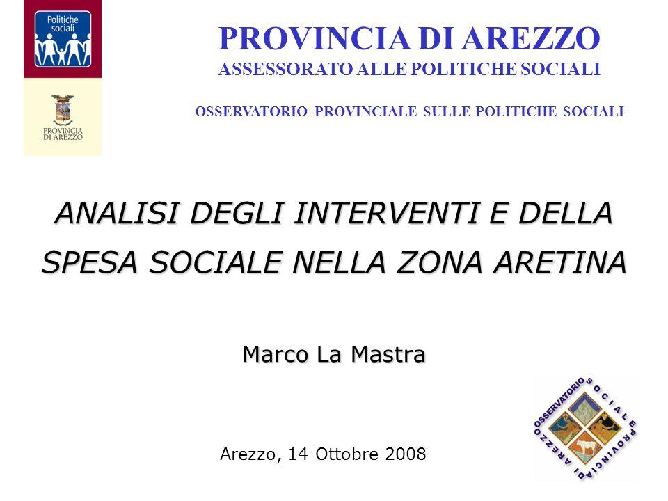 ANALISI DEGLI INTERVENTI E DELLA SPESA SOCIALE NELLA ZONA ARETINA Marco La Mastra PROVINCIA DI AREZZO ASSESSORATO ALLE POLITICHE SOCIALI OSSERVATORIO