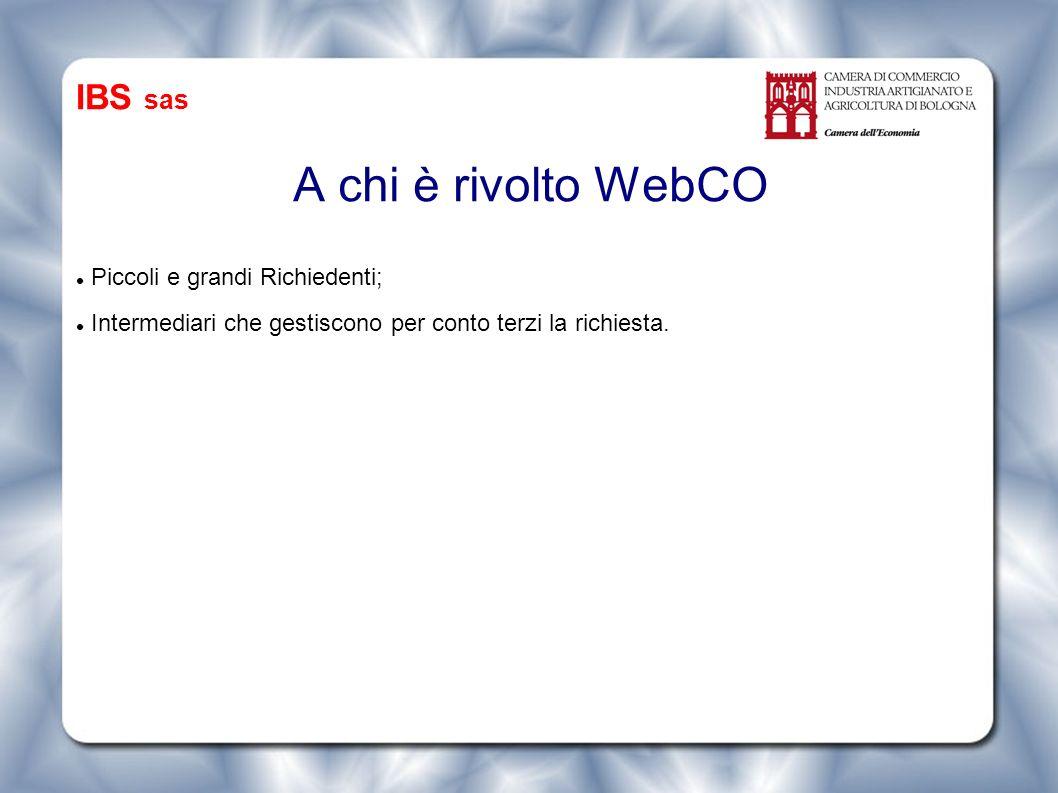 A chi è rivolto WebCO Piccoli e grandi Richiedenti; Intermediari che gestiscono per conto terzi la richiesta.