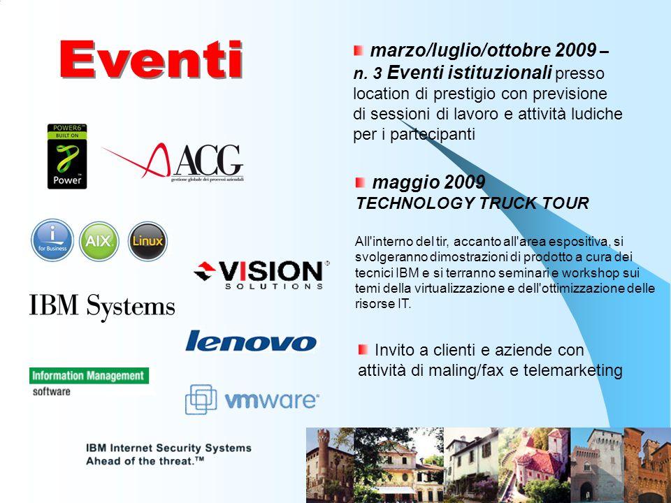 marzo/luglio/ottobre 2009 – n. 3 Eventi istituzionali presso location di prestigio con previsione di sessioni di lavoro e attività ludiche per i parte