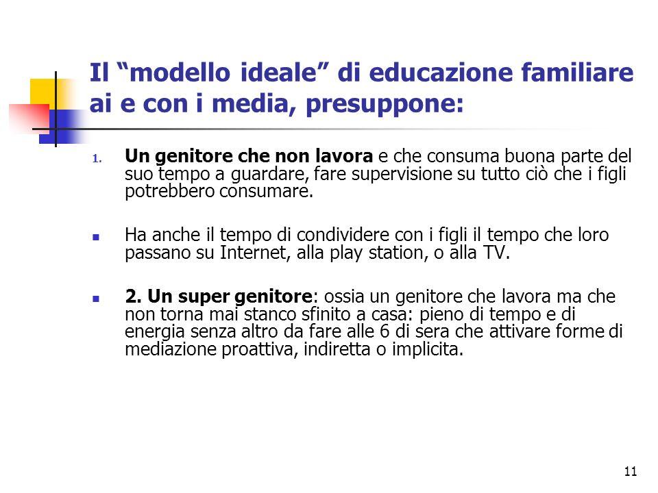 11 Il modello ideale di educazione familiare ai e con i media, presuppone: 1. Un genitore che non lavora e che consuma buona parte del suo tempo a gua
