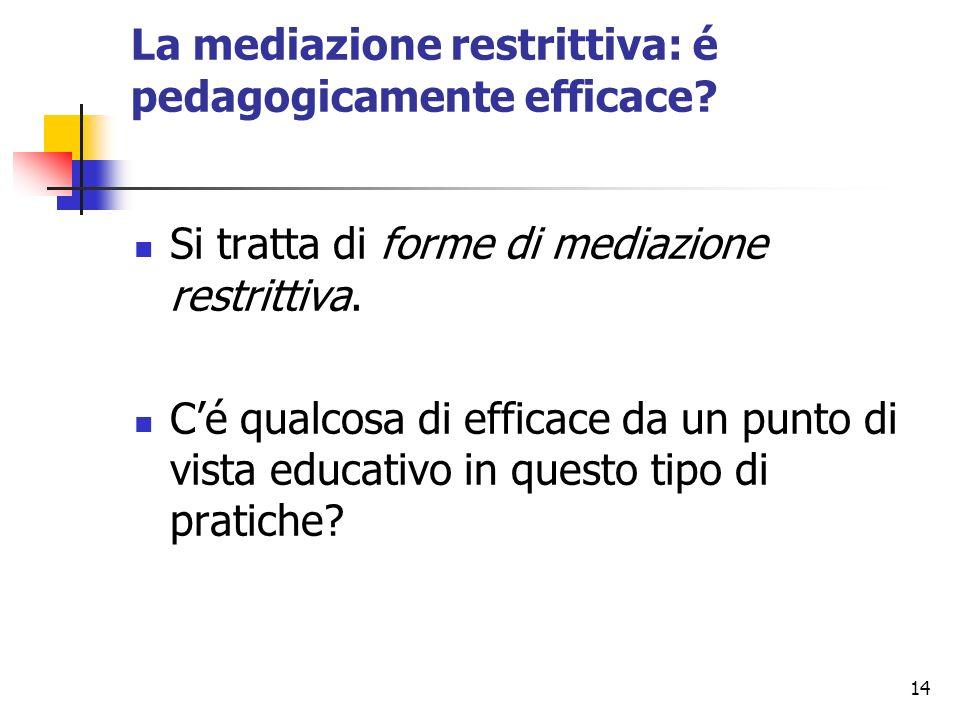 14 La mediazione restrittiva: é pedagogicamente efficace? Si tratta di forme di mediazione restrittiva. Cé qualcosa di efficace da un punto di vista e