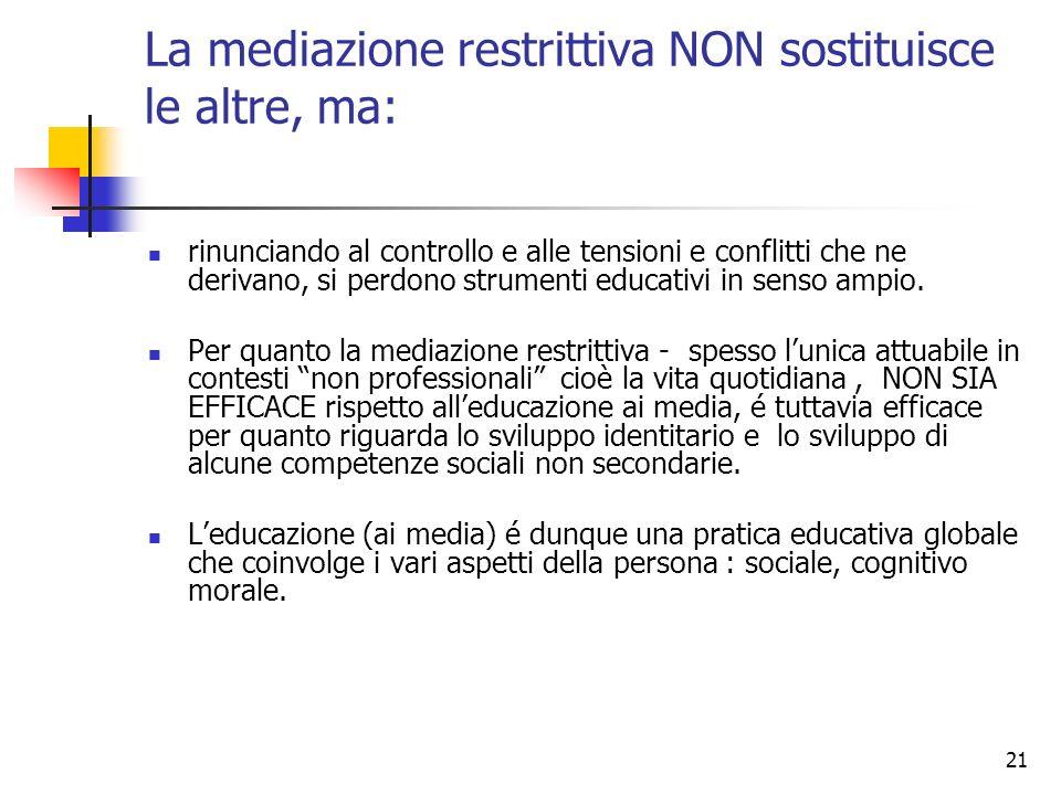21 La mediazione restrittiva NON sostituisce le altre, ma: rinunciando al controllo e alle tensioni e conflitti che ne derivano, si perdono strumenti