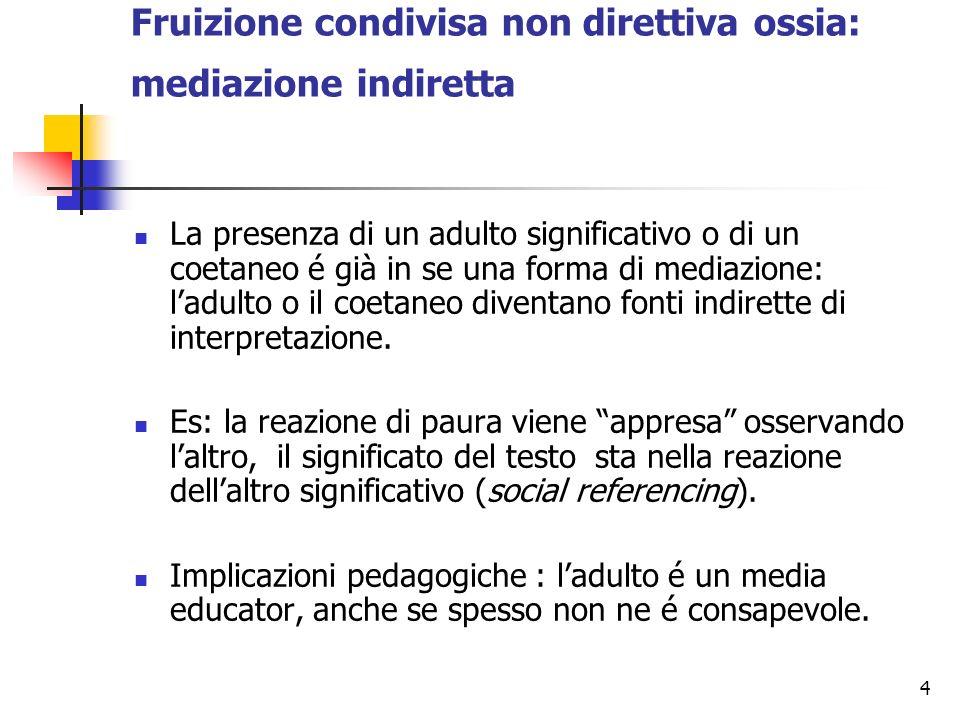 4 Fruizione condivisa non direttiva ossia: mediazione indiretta La presenza di un adulto significativo o di un coetaneo é già in se una forma di media
