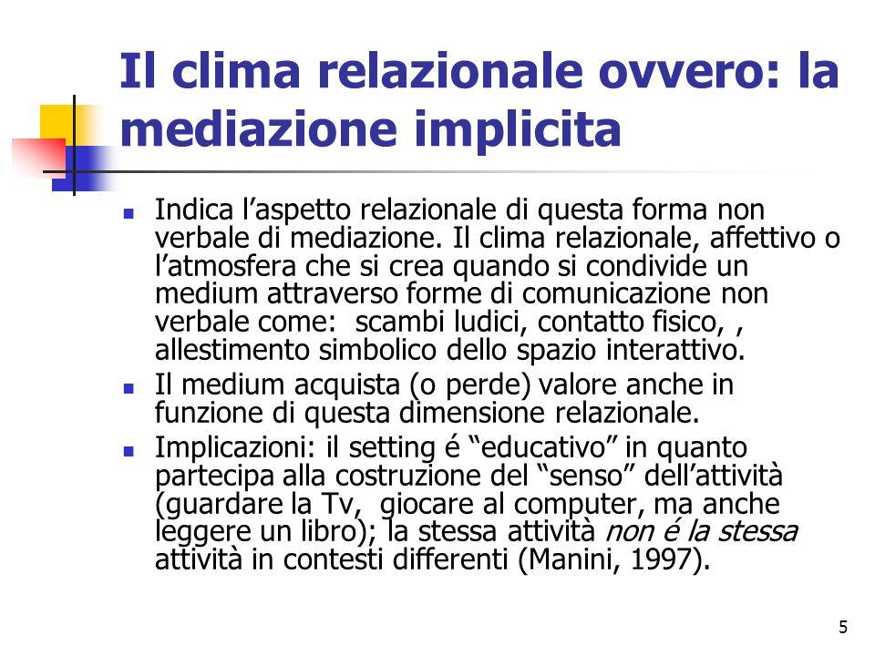 5 Il clima relazionale ovvero: la mediazione implicita Indica laspetto relazionale di questa forma non verbale di mediazione. Il clima relazionale, af