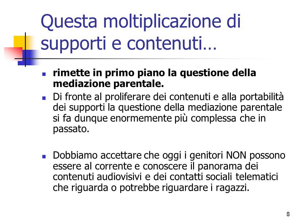 8 Questa moltiplicazione di supporti e contenuti… rimette in primo piano la questione della mediazione parentale. Di fronte al proliferare dei contenu