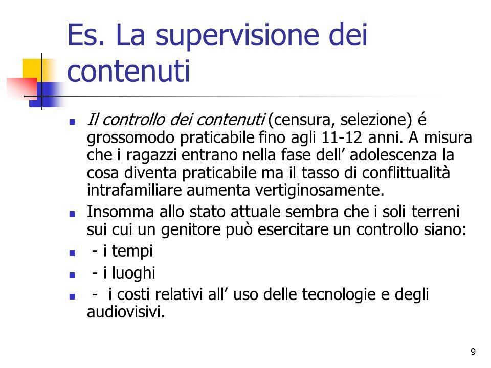 9 Es. La supervisione dei contenuti Il controllo dei contenuti (censura, selezione) é grossomodo praticabile fino agli 11-12 anni. A misura che i raga