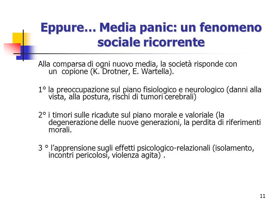 11 Eppure… Media panic: un fenomeno sociale ricorrente Alla comparsa di ogni nuovo media, la società risponde con un copione (K. Drotner, E. Wartella)