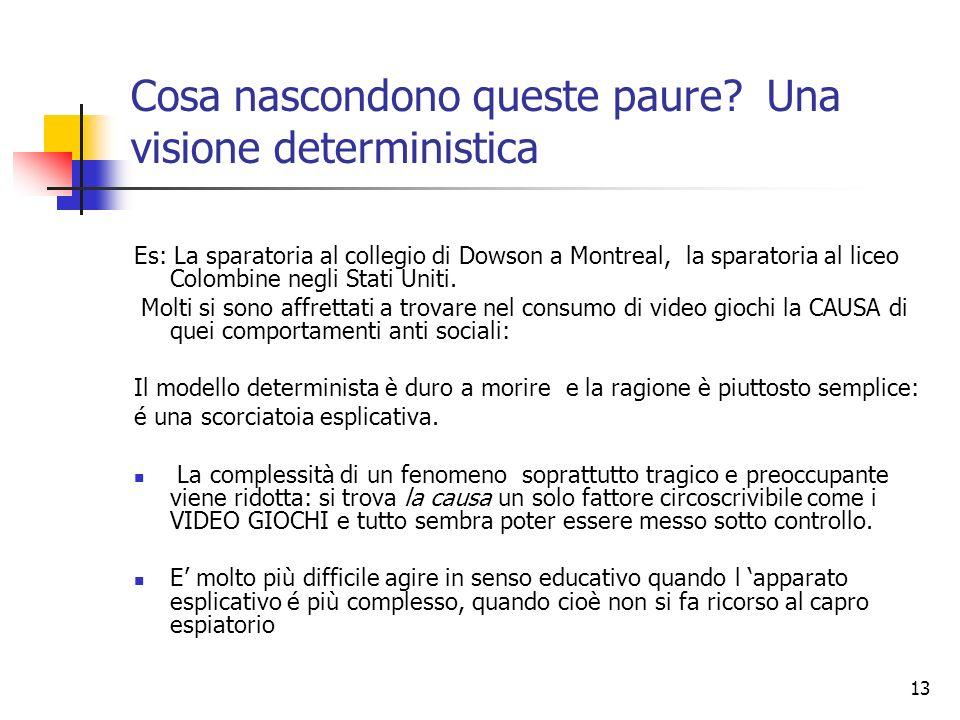 13 Cosa nascondono queste paure? Una visione deterministica Es: La sparatoria al collegio di Dowson a Montreal, la sparatoria al liceo Colombine negli