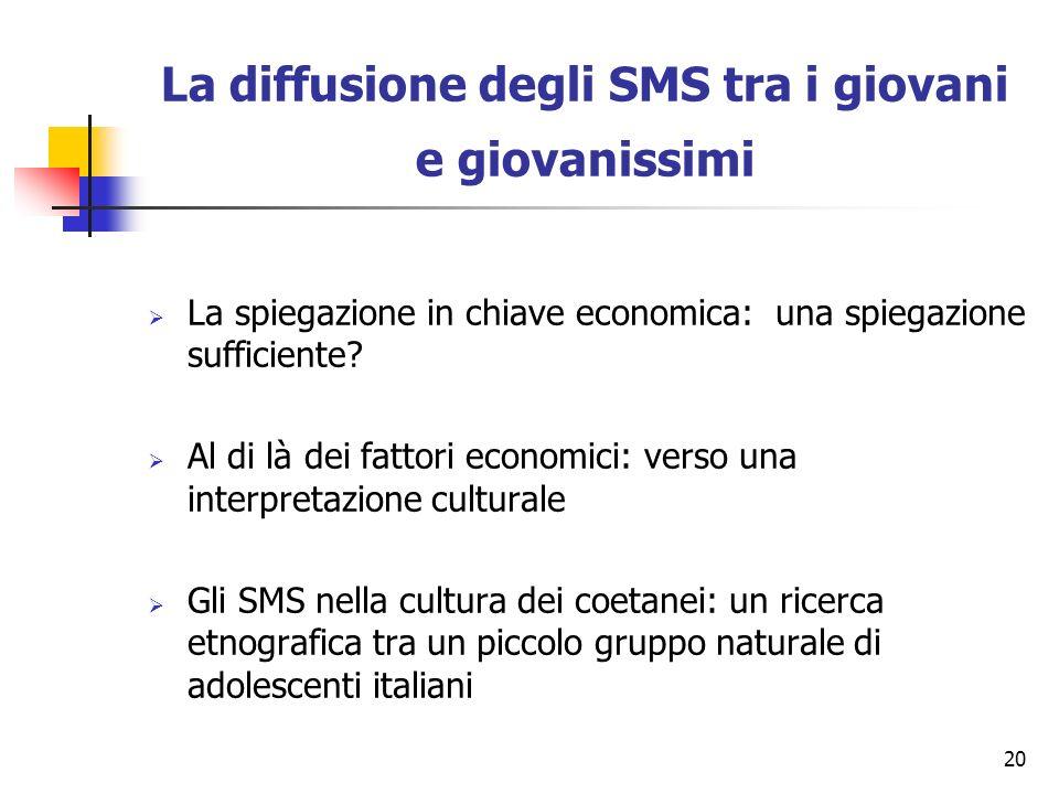20 La diffusione degli SMS tra i giovani e giovanissimi La spiegazione in chiave economica: una spiegazione sufficiente? Al di là dei fattori economic