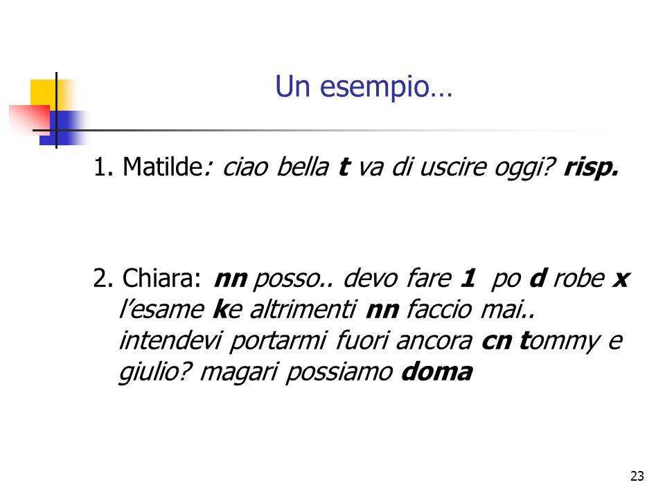 23 Un esempio… 1. Matilde: ciao bella t va di uscire oggi? risp. 2. Chiara: nn posso.. devo fare 1 po d robe x lesame ke altrimenti nn faccio mai.. in