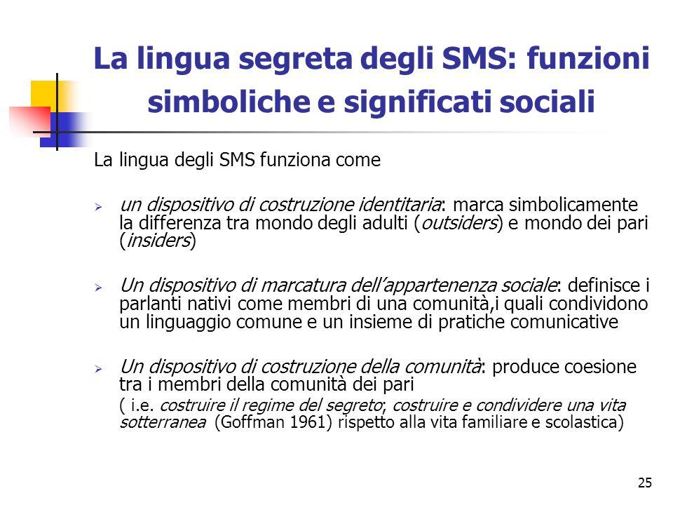 25 La lingua segreta degli SMS: funzioni simboliche e significati sociali La lingua degli SMS funziona come un dispositivo di costruzione identitaria: