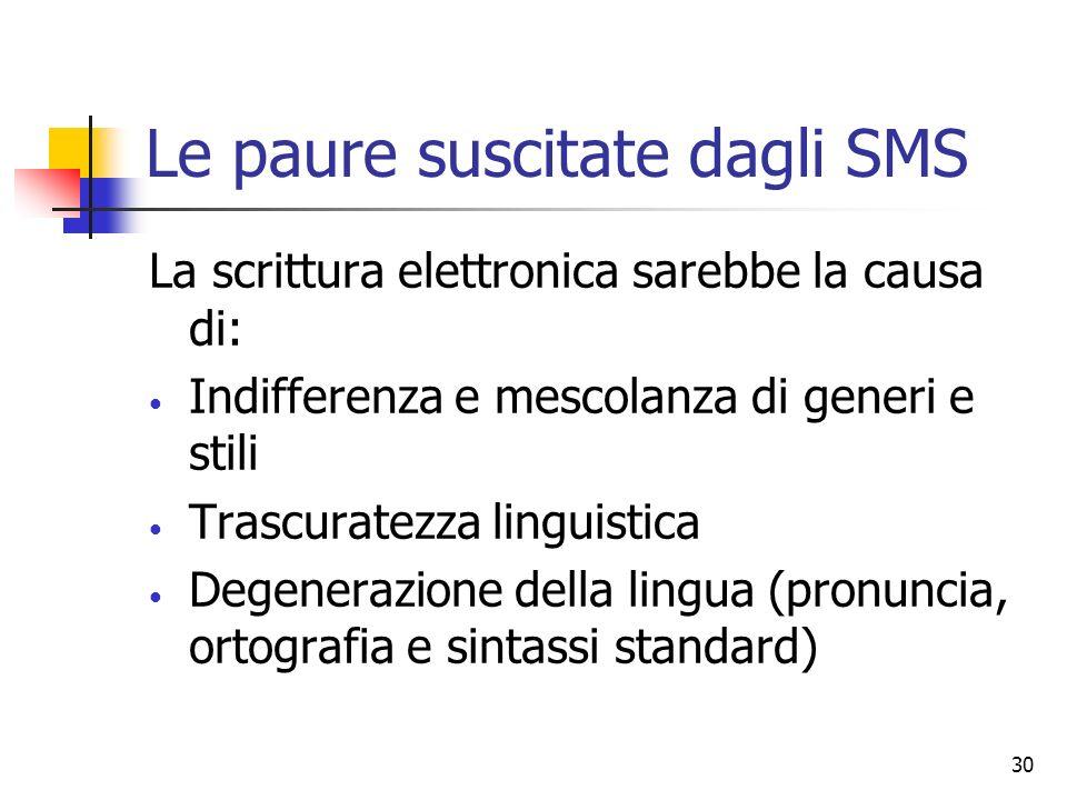 30 Le paure suscitate dagli SMS La scrittura elettronica sarebbe la causa di: Indifferenza e mescolanza di generi e stili Trascuratezza linguistica De