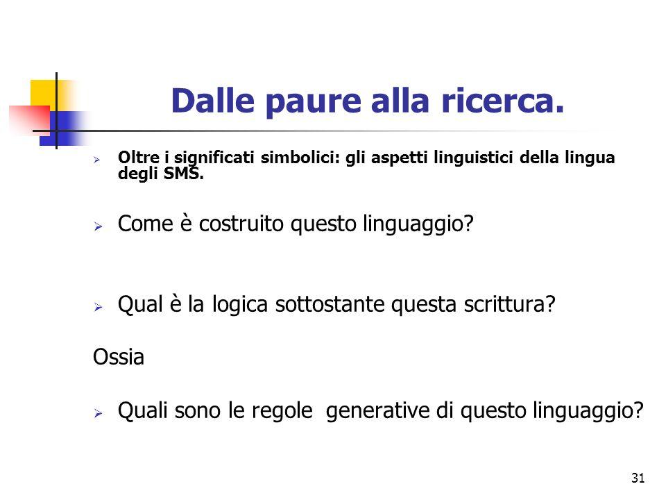 31 Dalle paure alla ricerca. Oltre i significati simbolici: gli aspetti linguistici della lingua degli SMS. Come è costruito questo linguaggio? Qual è
