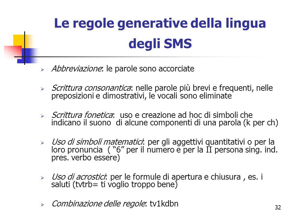 32 Le regole generative della lingua degli SMS Abbreviazione: le parole sono accorciate Scrittura consonantica: nelle parole più brevi e frequenti, ne