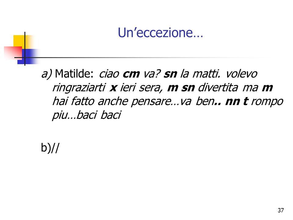 37 Uneccezione… a) Matilde: ciao cm va? sn la matti. volevo ringraziarti x ieri sera, m sn divertita ma m hai fatto anche pensare…va ben.. nn t rompo
